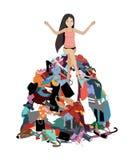 Nada vestir o conceito, assento forçado atrativo novo da mulher em uma pilha da roupa desarrumado saída do armário Vetor ilustração stock