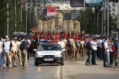 Nadaam Eröffnungsfeiern Parade und Polizeiwagen Stockfotografie