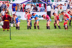 Nadaam Mongolian Wrestlers Royalty Free Stock Image