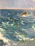 Nadada brilhante de tiragem dos povos do dia ensolarado no mar ilustração royalty free