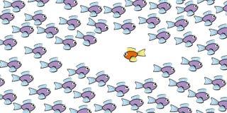 Nadada contra os peixes da maré cômicos ilustração do vetor