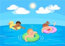 Nadada das crianças dos desenhos animados no mar Imagens de Stock
