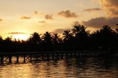 Nadada de la puesta del sol de la playa de la isla de Maldivas Imagen de archivo libre de regalías