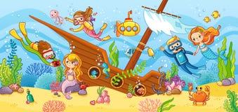 Nadada de los niños con buceo con escafandra en la ruina libre illustration