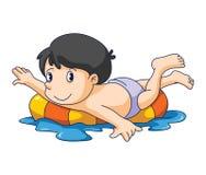 Nadada del niño stock de ilustración