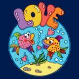 Nadada loving de dois peixes no fundo redondo do mar Ilustração Stock