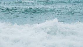 Nadadas del hombre en el mar en una tormenta, balanceando en las ondas, cámara lenta almacen de metraje de vídeo