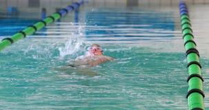Nadador apto que hace el movimiento trasero en la piscina metrajes