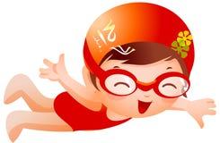 Nadador da menina ilustração do vetor