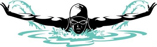 Nadador de sexo femenino profesional de la mariposa Imagen de archivo libre de regalías