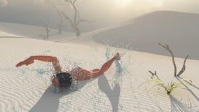 Nadador del desierto stock de ilustración