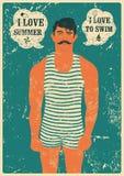 Nadador del verano Diseño tipográfico del cartel del grunge del vintage de la natación Ilustración retra del vector Imagen de archivo libre de regalías