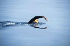 Nadador desconocido en el mar Fotografía de archivo libre de regalías