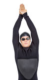 Nadador en wetsuit mientras que se zambulle Fotos de archivo libres de regalías