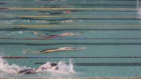 Nadador profissional na piscina fora da água Rastejamento do estilo livre filme