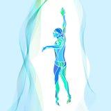 Nadador Silhouette do estilo livre Atleta da natação do esporte Foto de Stock Royalty Free