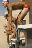 Nadadores alinhados em blocos começar Fotografia de Stock Royalty Free