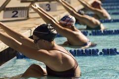 Nadadores de sexo femenino en bloques el comenzar Imagen de archivo libre de regalías