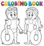Nadadores del muchacho y de la muchacha del libro de colorear Fotografía de archivo