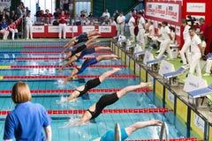 Nadadores fêmeas que começam durante a 7a competição da natação de Milão dos di do citta de Trofeo Foto de Stock