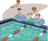 Nadadores que nadan Foto de archivo libre de regalías