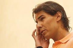 Nadal姿态在媒介会议 图库摄影