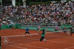 Nadal contra Federer Imagen de archivo libre de regalías
