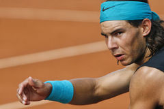 Nadal gestures during match. Tennis player Rafa Nadal gestures uring a match in Mallorca challenge open in the spanish island of mallorca Stock Photos