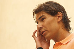 Nadal gestures at media conference Stock Photography
