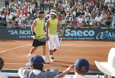 Nadal and Moya. Former world number one tennis players Rafa Nadal (R) and Carlos Moya seen after a doubles match in Mallorca challenge open in the spanish island Stock Image