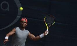 Nadal Rafa κατά τη διάρκεια μιας περιόδου άσκησης στο ponsa Μαγιόρκα santa ευρέως στοκ εικόνες