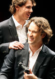 Nadal 044. Tennis player Rafa Nadal seen next to player Carlos moya, both former new one ranking tennis players, during a celebration ceremony in the island of Royalty Free Stock Photos