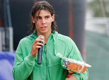 Nadal 035. Tennis player Rafa Nadal seen during the prize giving ceremony after a tournament in the island of mallorca Stock Images