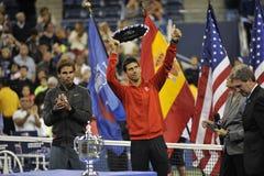 Nadal trofeum Djokovic us open 2013 (13) Zdjęcie Royalty Free