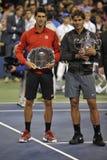 Nadal trofeum Djokovic us open 2013 (10) Fotografia Stock