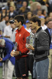 Nadal trophy Djokovic at US Open 2013 (18) Royalty Free Stock Image