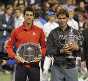 Nadal trophy Djokovic at US Open 2013 (20) Stock Photo