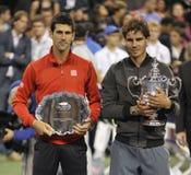 Nadal trophy Djokovic at US Open 2013 (20) Stock Photo