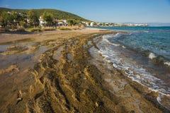 Nadbrzeże i plażowy pobliski miasteczko Scala, Agistri wyspa, Gre Obraz Stock