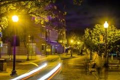 Nadbrzeże rzeki deski spaceru sceny w Wilmington nc przy nocą Fotografia Royalty Free