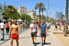 Nadbrzeże los angeles Barceloneta w Barcelona, Hiszpania Zdjęcia Royalty Free