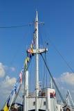 Nadbudowa statek i flaga Obrazy Stock