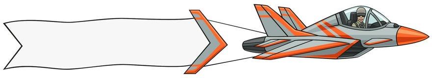 Naddźwiękowy samolot z sztandarem. Zdjęcie Royalty Free