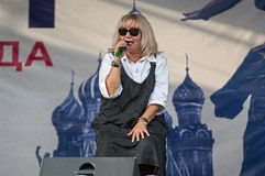 Nadeghda Melnik sing a song on Day of the Moscow city. PODOLSK, RUSSIA - SEPTEMBER 9, 2018: Nadeghda Melnik sing a song on Day of the Moscow city. Event in royalty free stock images