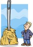 Nadel im Heuhaufen, die Karikatur sagt Stockbilder