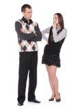 Nadenkend meisje en jonge mens stock foto
