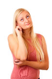 Nadenkende blonde vrouw in rood overhemd Stock Afbeeldingen