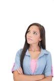 Nadenkende en ongerust gemaakte vrouw stock fotografie