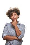 Nadenkende Jonge Afrikaanse Vrouw Stock Afbeelding