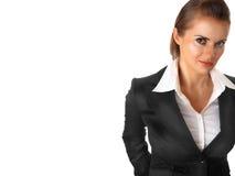 Nadenkende moderne bedrijfs geïsoleerde vrouw Royalty-vrije Stock Afbeelding